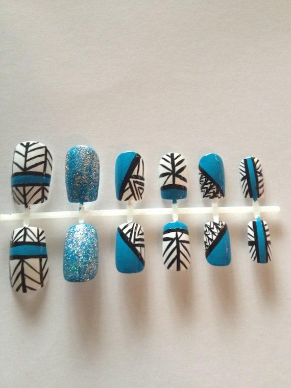 Blue Tribal False Artificial Acrylic Nails