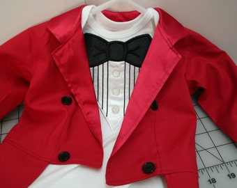 Ringmaster Costume - Tuxedo Jacket Fully Lined with Tails - Birthday, Carnival, Circus
