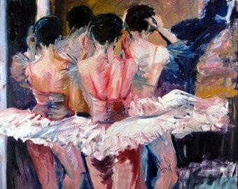 Ballet Dancers, backstage, Giclee Art Print of original oil painting.