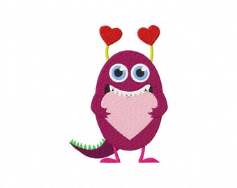 INSTANT DOWNLOAD Love Monster Machine Embroidery Design