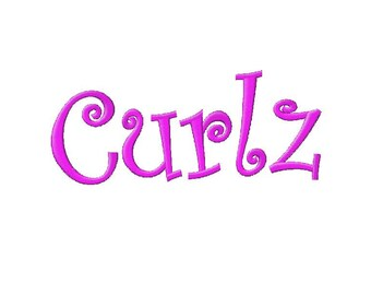 INSTANT DOWNLOAD Curlz Machine Embroidery Font Set Includes 3 Sizes