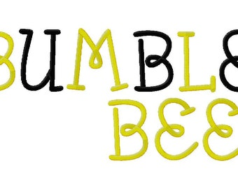 INSTANT DOWNLOAD Bumble Bee Machine Embroidery Font Set Includes 3 Sizes