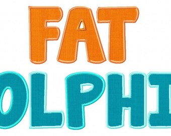 INSTANT DOWNLOAD Fat Dolphin Machine Applique Embroidery Font Set Includes 3 Sizes