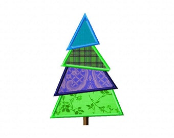 INSTANT DOWNLOAD Christmas Tree Machine Applique Embroidery Design