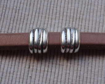 Silver Tube Spacer Bead for Licorice Leather bracelet