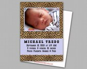 Custom Digital Baby Boy or Baby Girl Photo Birth Announcement, 5x7 PRINTABLE - BA2: Animal Print Cheetah