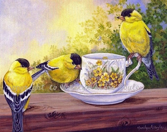 PRINT of THREE GOLDFINCHES - teacup, birds, wings, feathers, wildlife, nature, 8 x 10 inches, garden, summer, wall art,