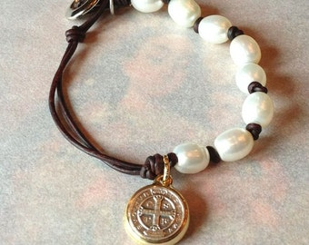 Pearl and Leather Bracelet with St. Benedict Medal Antique Brown OR Natural Black Leather