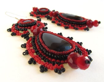 Red and Black Constellation Earrings with Fancy Edging