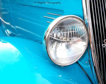 Select 4x6, 5x7, OR 8x10 Candy Blue Vintage Car with Headlight
