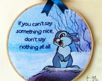 Disney's Thumper - Handmade Illustrated Embroidered Quote Hoop Nursery Decor Wall Art