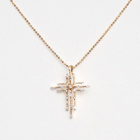 Gold Twinkle Cross Pendant, 18.5 x 23.5 mm