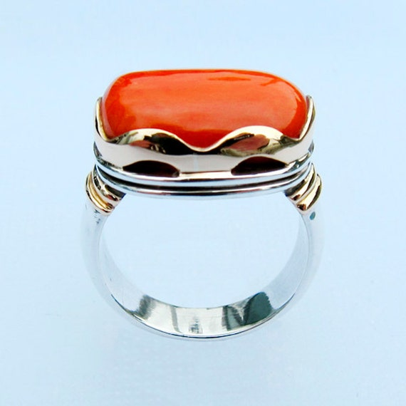 Ring with Coral, Size 8.75