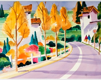 Italy Watercolor, Umbria, Tuscany, Watercolor Print, Watercolor Painting, Ellen Negley, Italian Countryside, 11 x 14, 16 x 20, 20 x 24