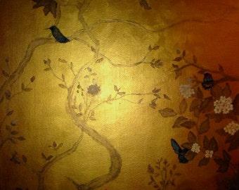 Gold metallic garden scene in de Gournay style