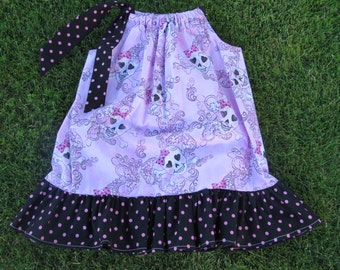 Girls Pink and Black Polka Dot with Skulls Ruffled Pillowcase Dress, size 3T/4T Dress or 6/7 Tunic Top