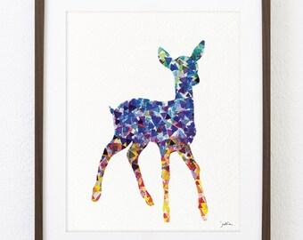 Blue Deer Watercolor Print - 8x10 Archival Print - Deer Painting - Deer Art Print - Wall Decor Art Home Decor Housewares