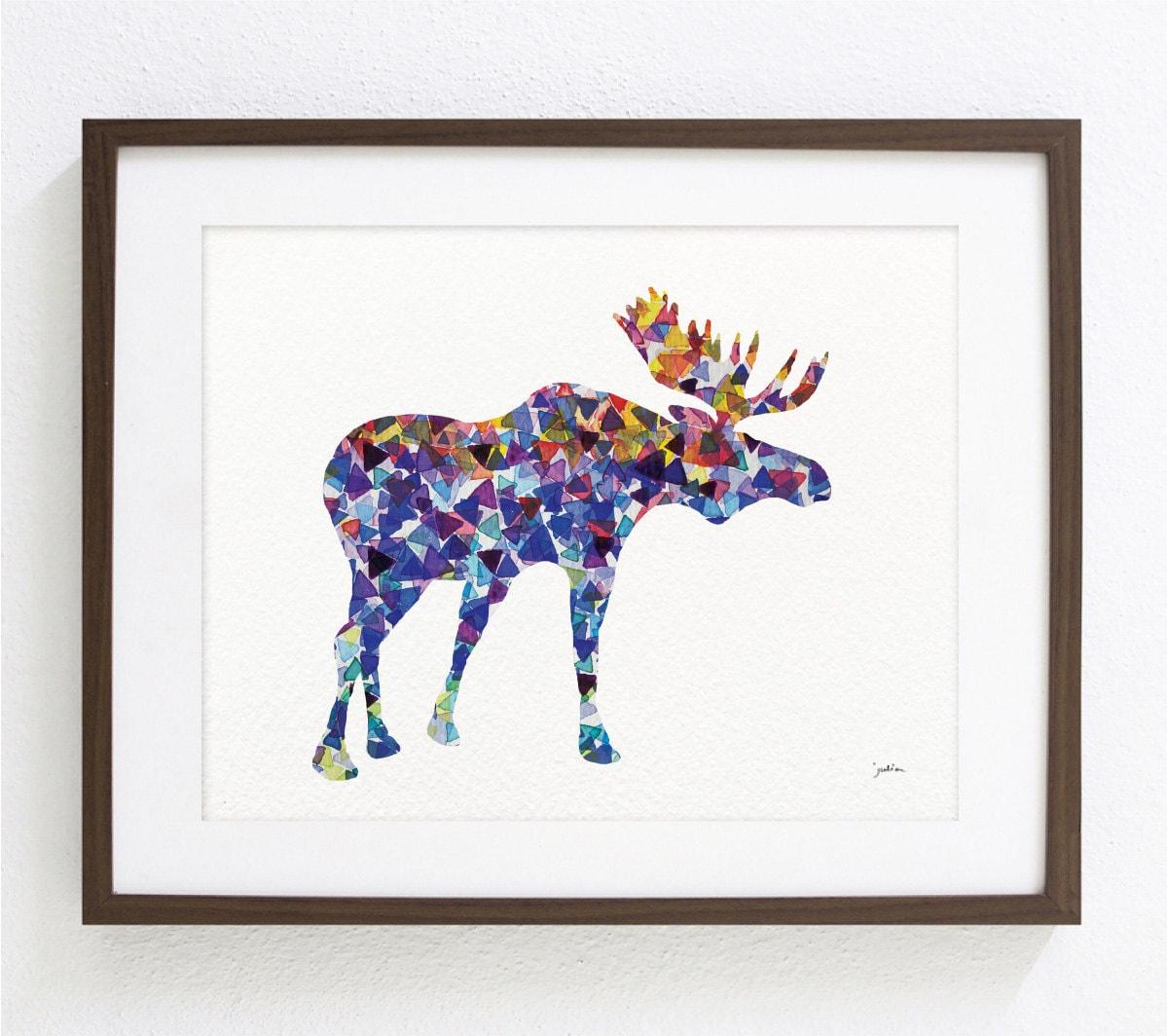 illustration geometric blue moose fine art prints and art