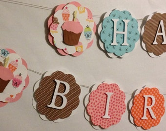 Happy Birthday Banner, Party Decorations, Birthday Party, Cupcake Theme