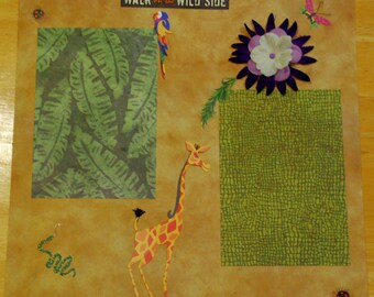 12 x 12 Pre-made  Zoo Giraffe Scrapbook Page