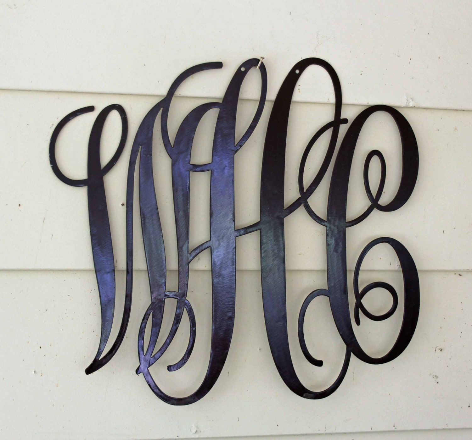 Script metal custom made monogram door or wall hanging for Wrought iron letters script