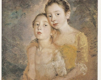 Collectors Vintage Art  Postcard - GAINSBOROUGH - The Painter's Daughters with a Cat