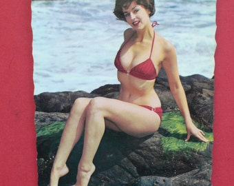 Vintage Pin Up Girl Beach Photo postcard France 1960's