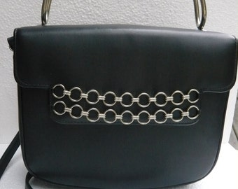 Vintage Navy Purse with Silver Chain & Handle