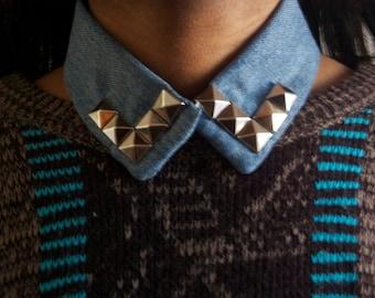 Denim Studded Collar