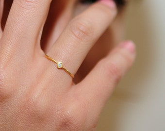Minimalist gold ring with a diamond , gold band , wedding ring with a diamond , 14 karat gold ring , engagement ring , SALE