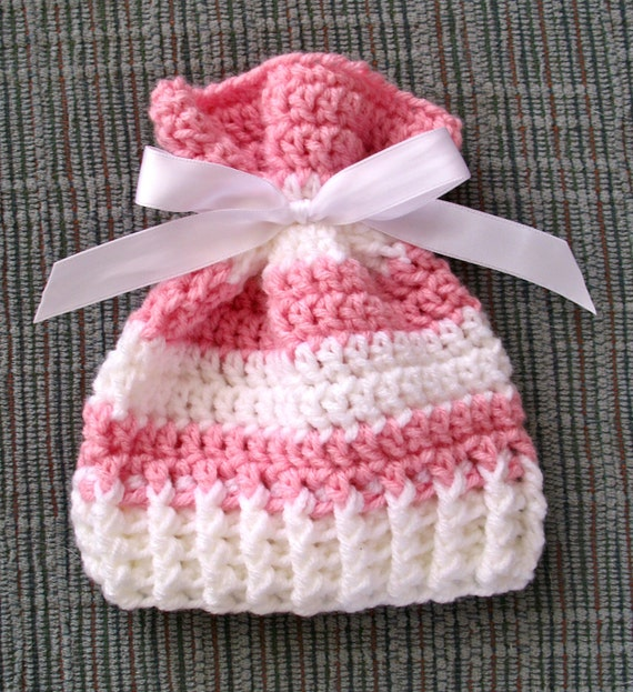 Crochet Baby Hat With Ribbon Pattern : Sack Hat With Ribbon Crochet Pattern NEWBORN SIZE by SugarHats