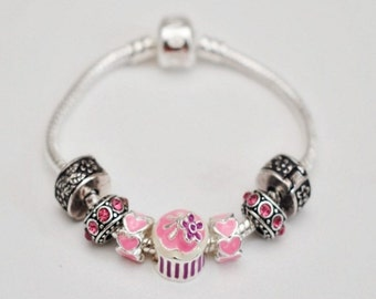 Girls Cupcake Charm Bracelet