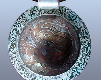 Pendant mokume gane. Silver-copper, iron-copper