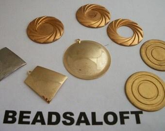 Vintage brass metal stampings findings