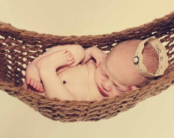Baby Hammock Photo Prop In Cafe Brown, baby hammock, crochet baby hammock, brown baby hammock, baby hammock photo prop, hanging photo prop