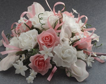 Rose and Sweet Pea Sugar Flower Cake Topper for Weddings and other Special Occasion Cakes