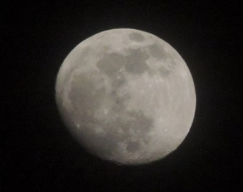 Download-able Digital Image / Photo of an Almost Full Moon On a Clear Night