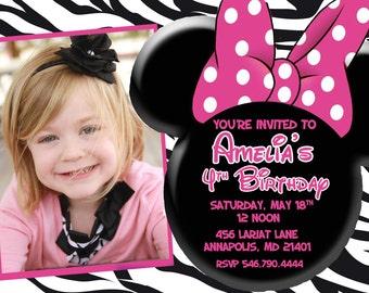 Minnie Mouse Zebra Birthday Party Invitation - Digital File