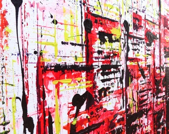Red Electric: Heavy body acrylic on wrapped canvas
