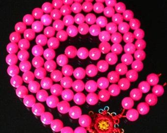Tibet Hot Pink Stone 10mm 108 Beads Beaded Buddhism Buddha Prayer Mala Necklace