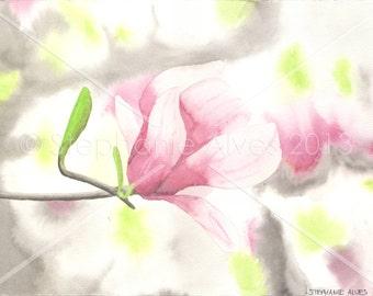 Original watercolor painting of tulip magnolia 10x14