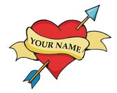 Heart and Arrow Personalized Temporary Tattoo set of 3
