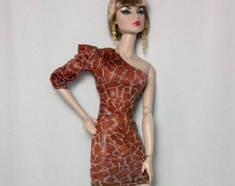 Dolls dress  and earrings for Vintage barbie, Silkstone, FR  Giraffe   BA-047