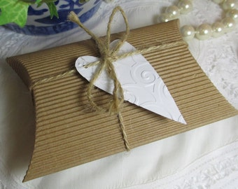 10 Kraft Pillow Box, Rustic Wedding Favor Box, Corrugated Kraft Pillow Box, Kraft Pillow Box Embossed Heart Tag and Jute Ribbon
