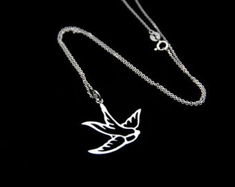 Sparrow Pendant Necklace, Sterling silver sparrow Necklace