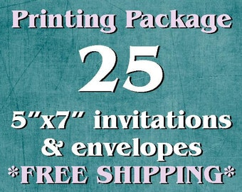 "25 Single-Sided, Full Color 5""x7"" Invitations/Announcements AND Envelopes"