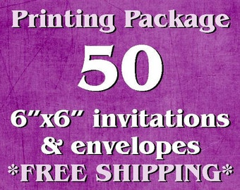 "50 Single-Sided, Full Color 6""x6"" Invitations/Announcements AND Envelopes"