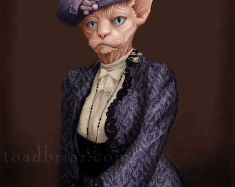 Dowager Countess Sphynx Cat Portrait - Downton Abbey - 8x10 Signed Print
