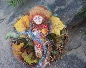 Equinox Moon, Nature Spirit, Mix Media art, Nesting Zen Doll.  Assemblage Altered Art  Spirit Doll