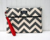Apple iPad / Kindle Fire HD 8.9 / Wristlet / Padded Pouch / Bag- Gray Chevron with Red